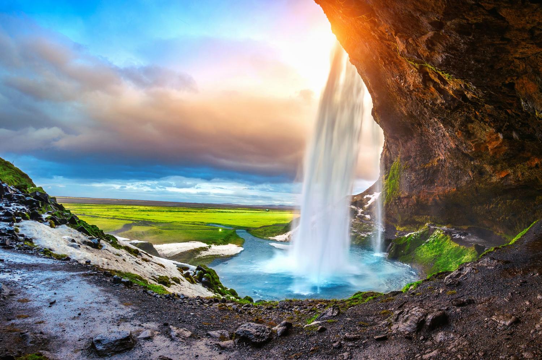 seljalandsfoss waterfall-during sunset beautiful waterfall iceland